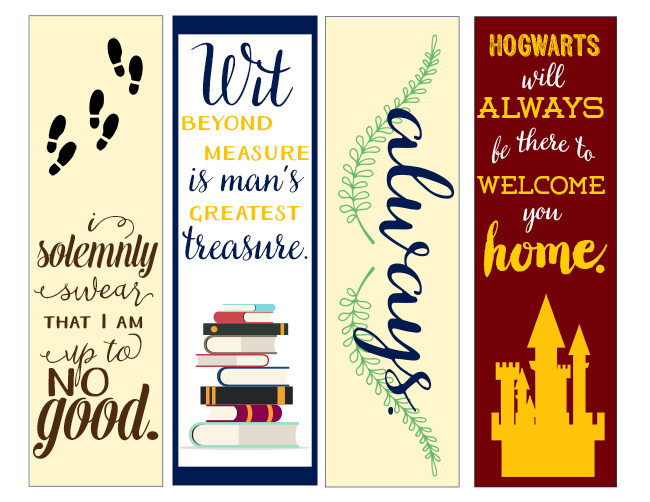 Luscious image intended for free printable harry potter bookmarks
